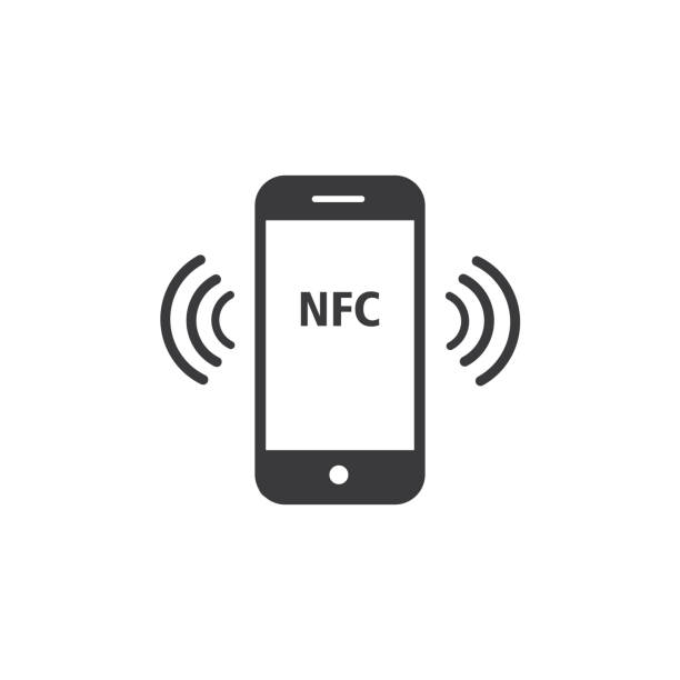 nfc payment with smartphone icon - vector - call center stock illustrations