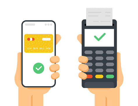 Payment with Terminal. Mobile Phone and Terminal. Bank Transaction. Mobile Payment. Isolated on White Background. Vector Illustration