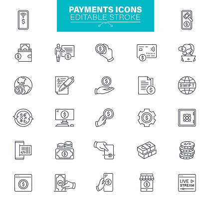 Payments Icons Editable Stroke. The set contains icons as Credit Card, Mobile Payment, Buying
