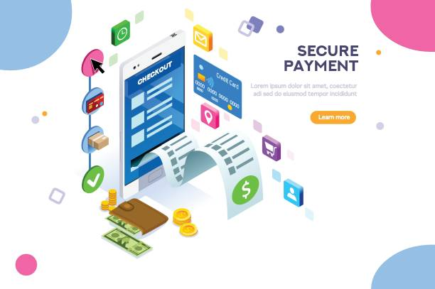 Payments Protection Vector Illustration Online payment. Internet payments, protection of money in cellphone transactions. Can use for web banner, infographics, hero images. Flat isometric vector illustration isolated on white background. banking backgrounds stock illustrations