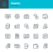 Payments - thin line vector icon set. 20 linear icon. Pixel perfect. Editable outline stroke. The set contains icons: Paying, Contactless Payment, Credit Card Purchase, Mobile Payment, Buying, Receiving Payment, Currency Exchange, Digital Wallet.