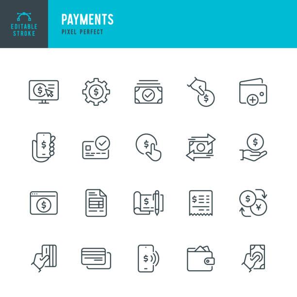 付款 - 細線向量圖示集。圖元完美。可編輯的描邊。該集包含圖示:付款,非接觸式支付,信用卡購買,移動支付,購買,接收付款,錢包。 - money 幅插畫檔、美工圖案、卡通及圖標