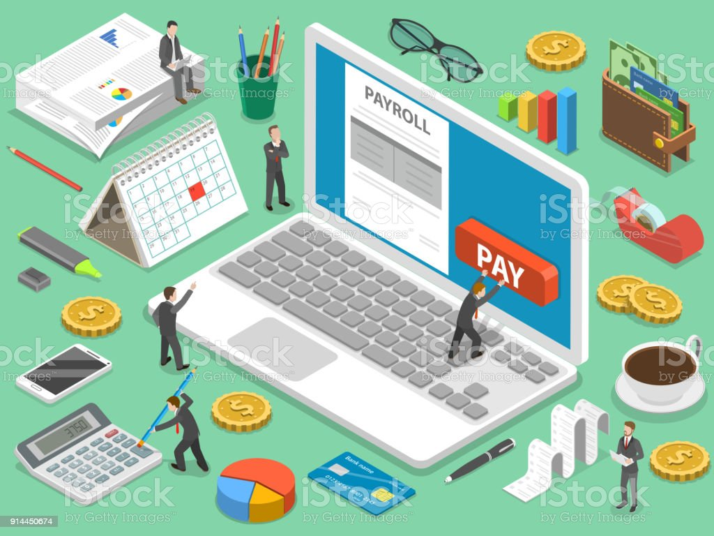 Payroll flat isometric vector concept. vector art illustration