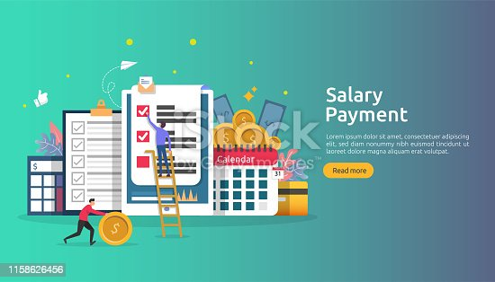 Payroll income concept. salary payment annual bonus. payout with paper, calculator, and people character. web landing page template, banner, presentation, social, and print media. Vector illustration.