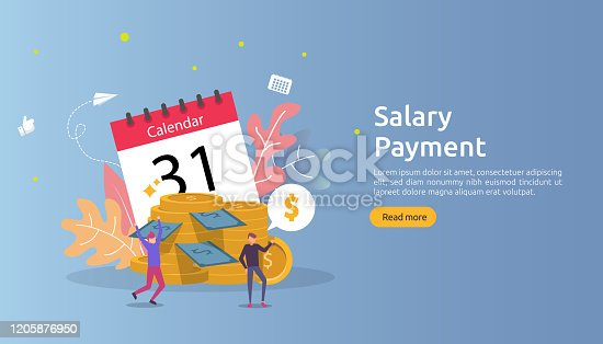 Payroll income concept. salary payment annual bonus. payout with paper, calculator, and people character. web landing page template, banner, presentation, social, and print media. Vector illustration
