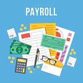 Payroll, invoice sheet flat illustration. Top view. Flat vector illustration
