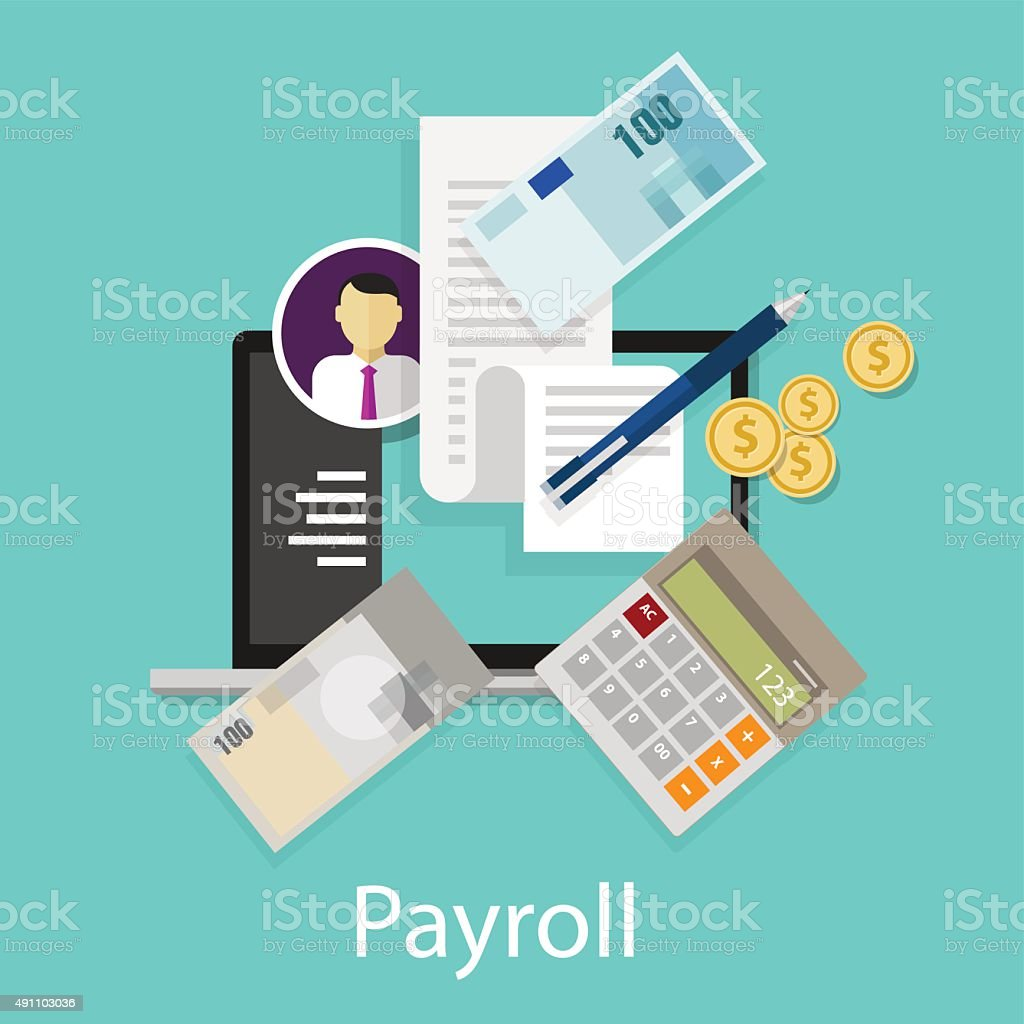 payroll salary accounting payment wages money calculator icon symbol vector art illustration