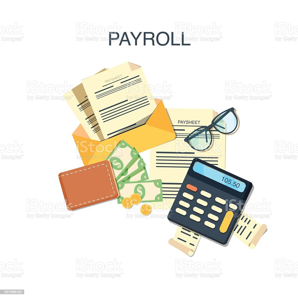 Payroll salary payment vector art illustration