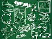 Pc components and peripheral devices sketches on school board