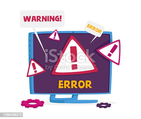 istock Pc Monitor with System Error Warning on Screen. Professional Technical Help, Site under Construction, Client Support 1288486075