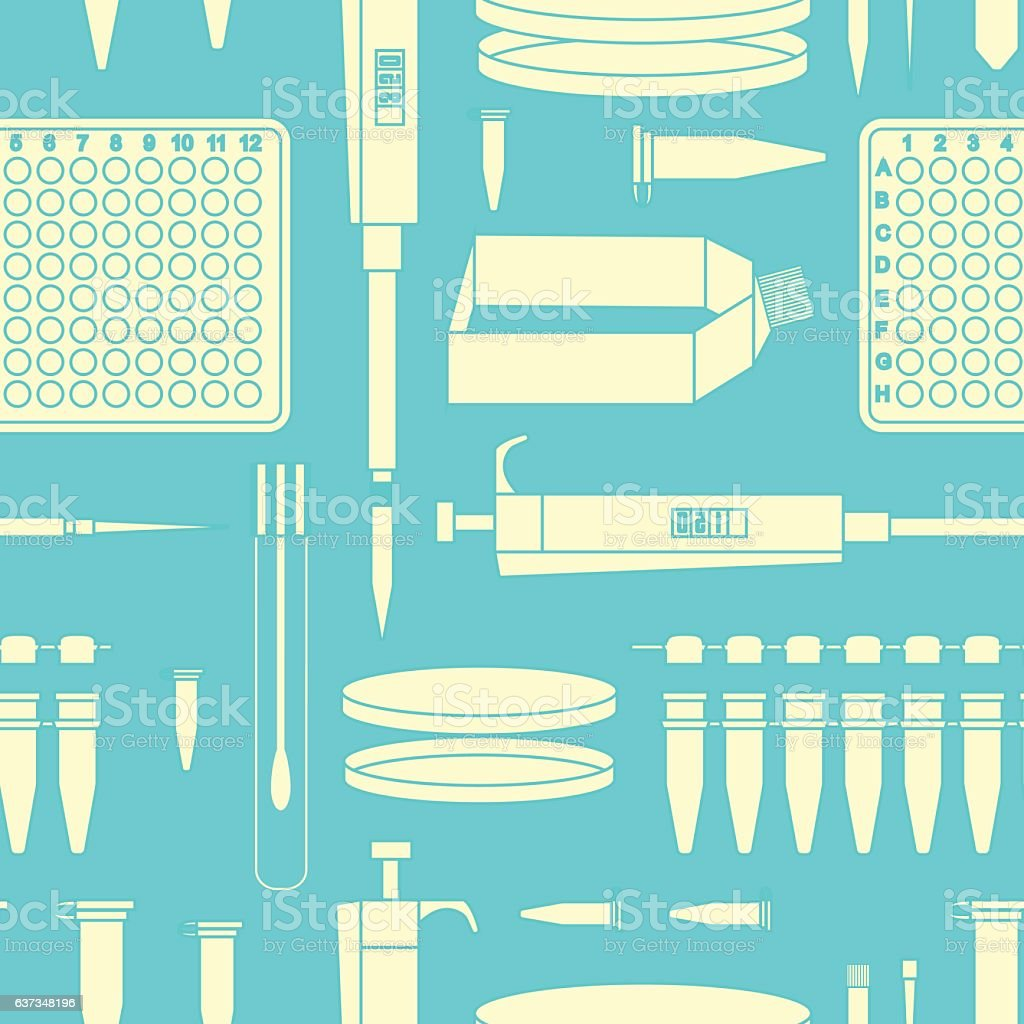 pcr lab equipment seamless pattern vector art illustration