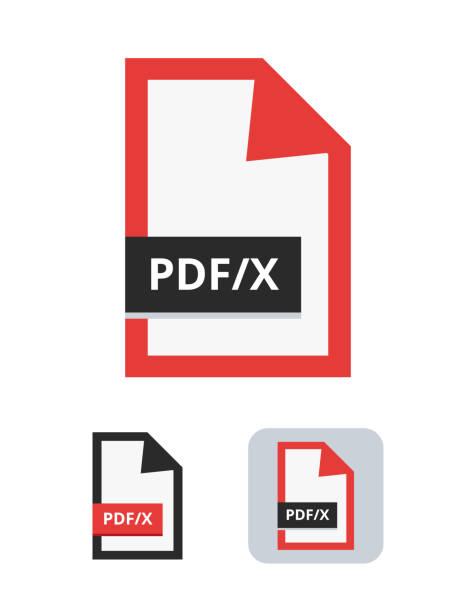ilustrações, clipart, desenhos animados e ícones de ícone liso do vetor do arquivo de pdf/x. símbolo do padrão do iso de pdf/x para a troca dos gráficos entre o desenhador gráfico e a planta imprimindo ou a casa imprimindo isolada em um fundo branco. - fontes e tipografia