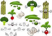 Pea, garlic, broccoli, radish and asparagus
