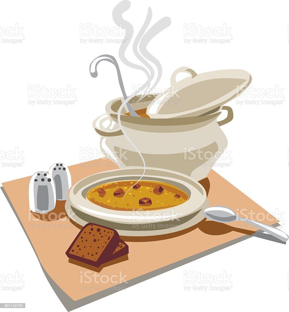pea soup with croutons vector art illustration