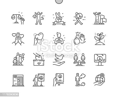 istock Peace and Humanrights Well-crafted Pixel Perfect Vector Thin Line Icons 30 2x Grid for Web Graphics and Apps. Simple Minimal Pictogram 1178390836