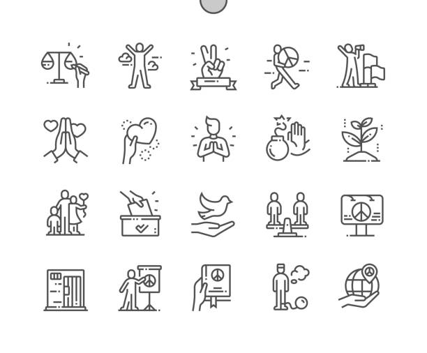 ilustrações de stock, clip art, desenhos animados e ícones de peace and humanrights well-crafted pixel perfect vector thin line icons 30 2x grid for web graphics and apps. simple minimal pictogram - tranquilidade