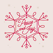 Peace and joy script holiday snowflake symbol.