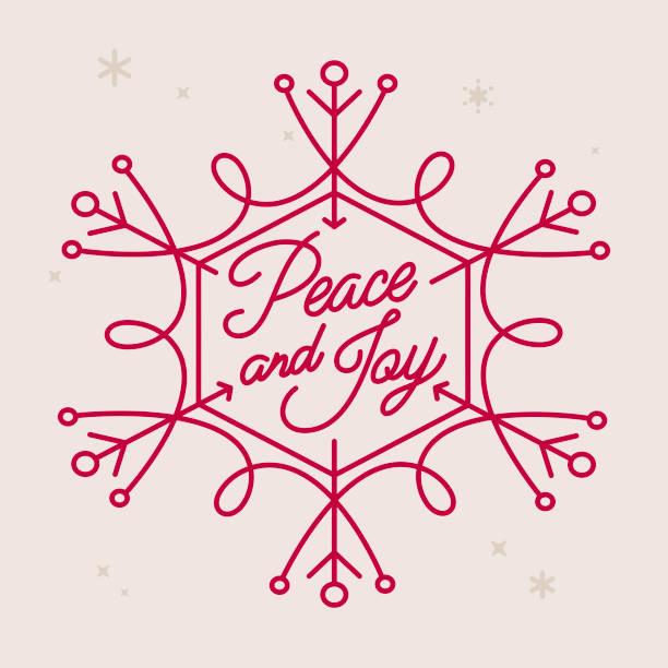 ilustrações de stock, clip art, desenhos animados e ícones de peace and joy holiday snowflake - alegria
