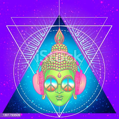 istock Peace and Love. Colorful Buddha in rainbow glasses listening to the music in headphones. Vector illustration. 1301793509