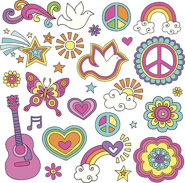 stockillustraties, clipart, cartoons en iconen met peace and love flower power psychedelic doodles set - hippie