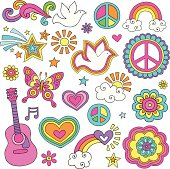 Peace and Love Flower Power Psychedelic Doodles Set