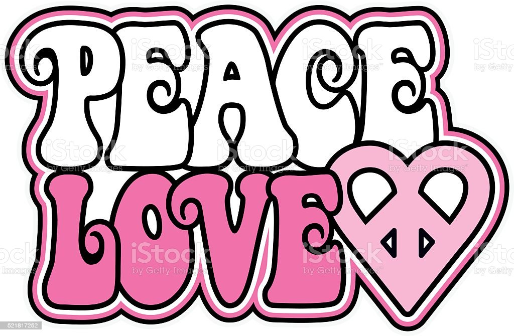 Peace And Love In Pink Stock Vector Art More Images Of 1960 1969
