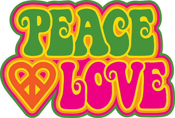 Peace and Love Peace and Love retro-styled outlined text design with a peace-heart symbol in green, magenta, orange and yellow. Type style is my own design. symbols of peace stock illustrations