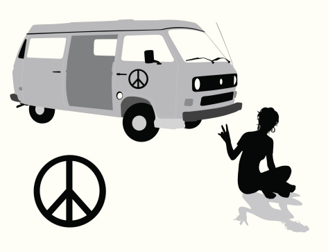Peace And Love Vector Silhouette