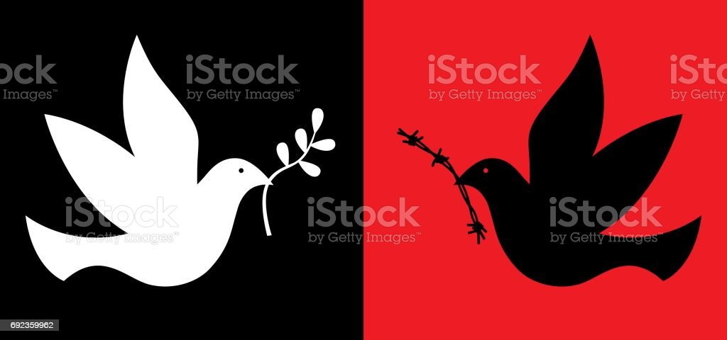 Peace And War Doves vector art illustration