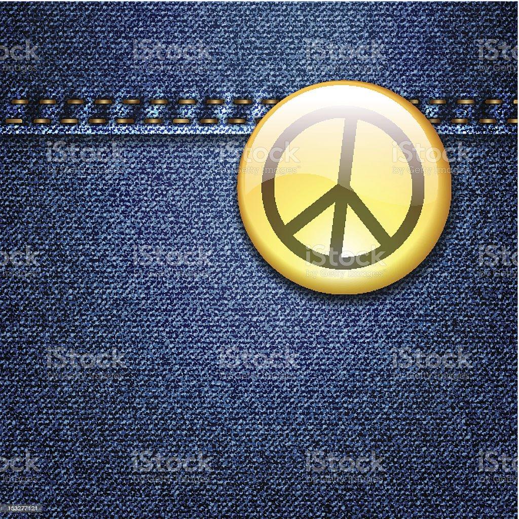 Peace badge on denim fabric texture vector royalty-free stock vector art