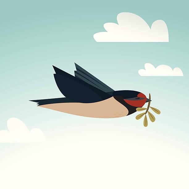 Peace bird with twig vector art illustration