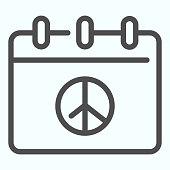Peace day calendar line icon. Pacific calendar vector illustration isolated on white. Calendar page with peace day outline style design, designed for web and app. Eps 10