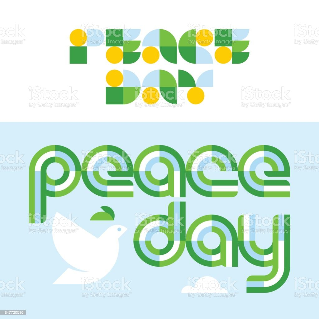 peace day card with modern lettering and dove holding olive branch royalty free stock vector
