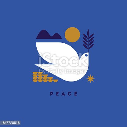 International day of peace vector illustration with white dove with green branch
