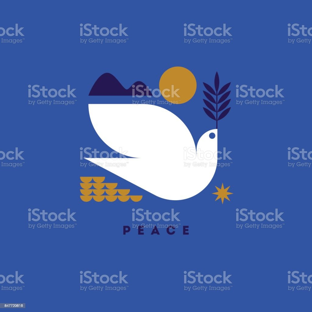 Peace day greeting card with flying dove and symbols of hope vector art illustration