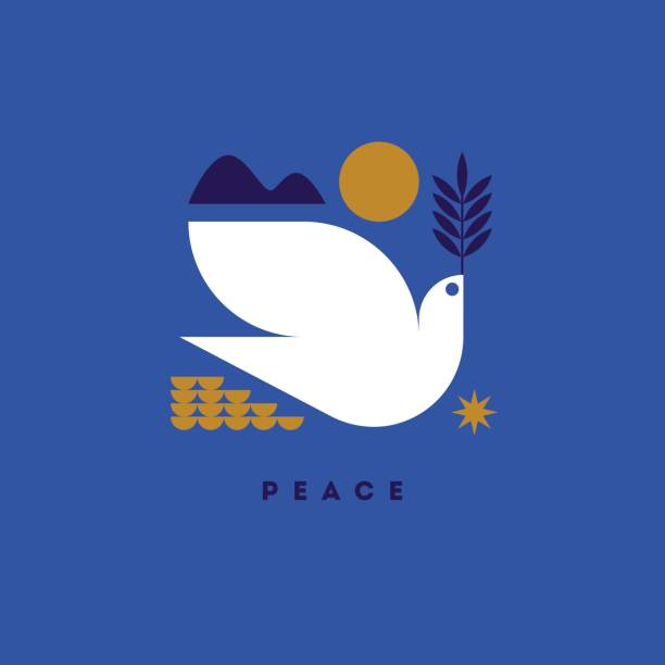 Peace day greeting card with flying dove and symbols of hope International day of peace vector illustration with white dove with green branch pigeon stock illustrations