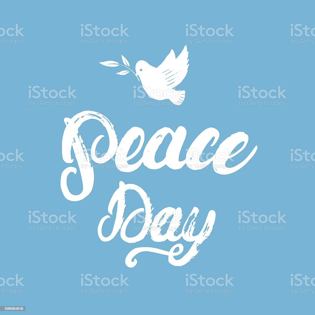 Peace Day hand written calligraphy lettering poster. royalty-free peace day hand written calligraphy lettering poster stock vector art & more images of backgrounds