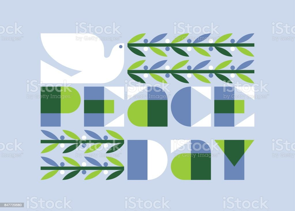 peace day poster or card with elegant dove holding olive branch royalty free stock vector