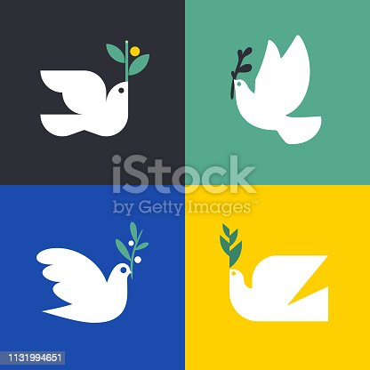 Peace dove. Flat style vector icon or logo template of white pigeon with olive branch. Set of elegant birds