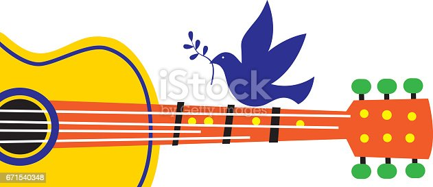 Vector illustration on a peace dove sitting and a guiter.