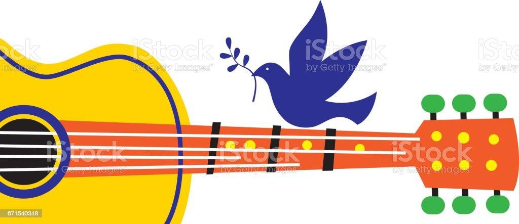 Peace Dove Guitar vector art illustration