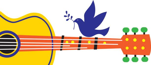 peace dove guitar - 1960s style stock illustrations, clip art, cartoons, & icons