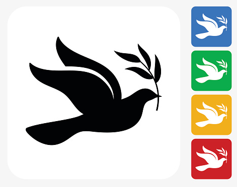 Peace Dove Icon Flat Graphic Design