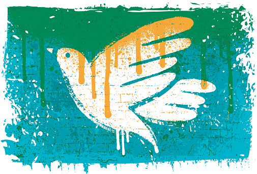 Peace dove stencil on textured wall
