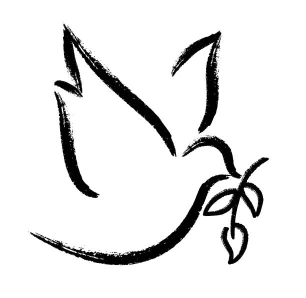 Peace dove Peace dove - brush vector symbols of peace stock illustrations