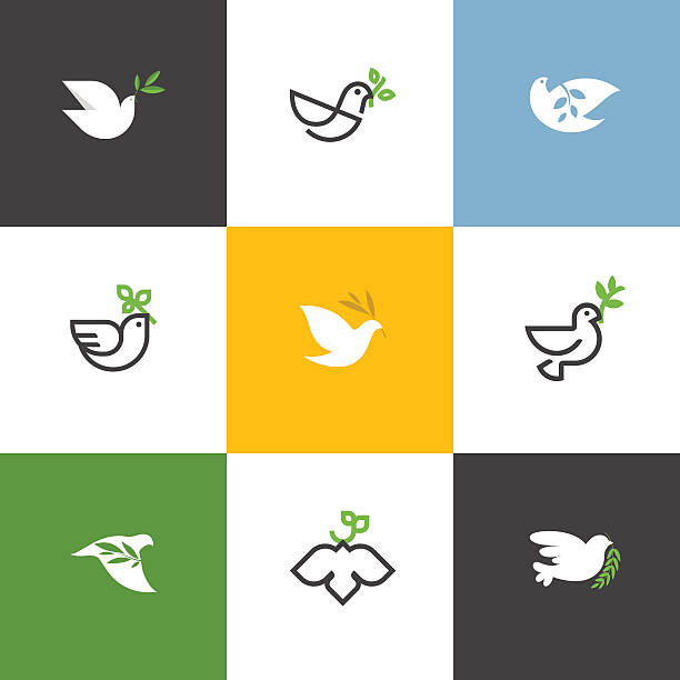 Peace dove with green branch. Flat line vector illustrations set Peace dove with green branch. Flat line design style vector illustrations set of icons and design elements symbols of peace stock illustrations