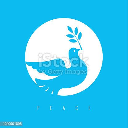 Vector of peace dove with olive branch icon design. EPS Ai 10 File format.
