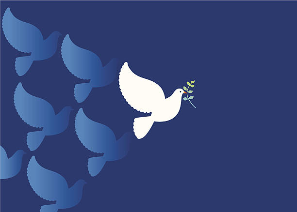 Peace Dove with Olive branch Illustration of Peace dove and olive branch on blue background. tranquil scene stock illustrations