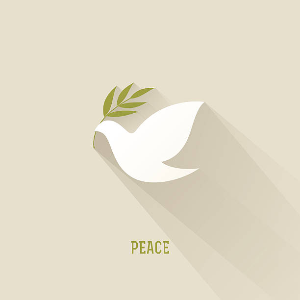 Peace dove with olive branch Peace dove with olive branch tranquil scene stock illustrations