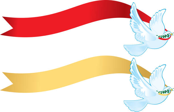 Peace Doves with banners vector art illustration
